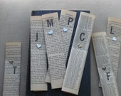 Bookmark With Initial, Handstamped Bookmark made from vintage book page, stamps and heart fastener