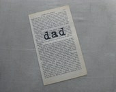 PAPER EPHEMERA, DAD, Father, Fathers Day, Stamped Book Page Vintage Paper, handstamped, frameable art