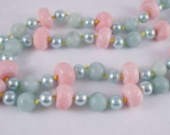 Yummy Candy Looking No clasp Necklace Pink Coral Sea Foam Green