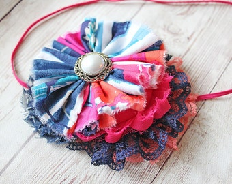 Poppy Party navy, coral pink and white ruffle and rosette headband