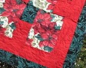 Christmas Poinsettias Lap Quilt