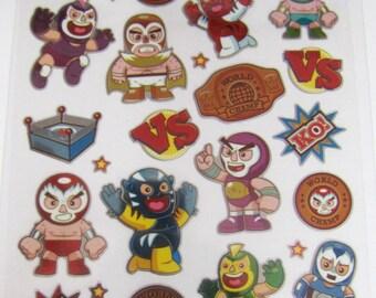 "Sticko Scrapbooking Stickers - Fun Mini Mexican Wrestlers Lucha Libre Luchador ""Wrestling Friends"""