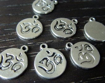 Destash (8) Ohm Charm Pendants - hindu, meditation, yoga, hippie - for pendants, jewelry making, crafts, scrapbooking