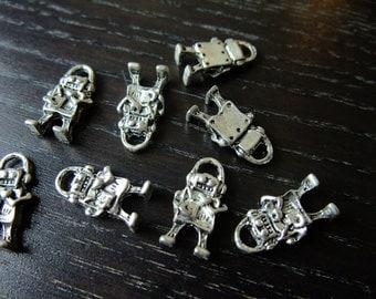 Destash (8) Cute Mini Robot Charm - for pendants, jewelry making, crafts, scrapbooking