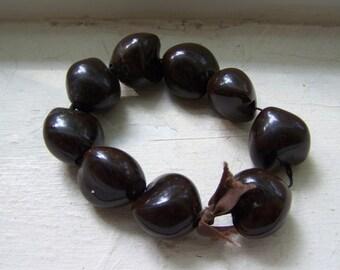 Unique Hawaiian Kukui Lei Beads Mixed Media Unusual Tied Bracelet