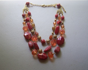 Beautiful Triple Strand Gold Burnt Orange Necklace