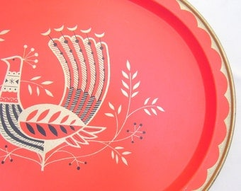 vintage tomato red metal tray.midcentury.oval.peacock motif.gold.black.barware.tessiemay vintage