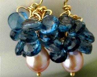 18K London Blue Topaz and Pearl Cluster Earrings
