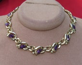 Vintage Trifari Purple Rhinestone Collar Necklace