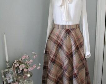 SALE-Brown and Orange Wool Skirt
