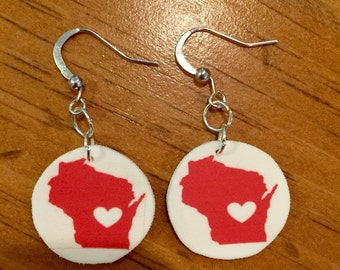 Red and white wisconsin heart earrings
