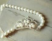 Baby Headband, Pearl Headband, Mini Rhinestone Crown, Pearl Baby Crown, RTS, Baby Girl Props, Newborn Props, Baby Tiara, Vintage Props