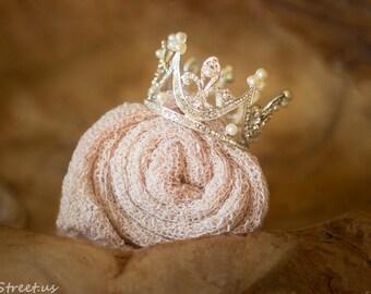 Baby Crown and Baby Wrap Set, Blush Pink Stretch Wrap, Baby Tiara, Rhinestone Crown, Newborn Headband, Baby Girl Photo Prop, RTS, Newborn