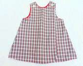 BUSTER BROWN Preppy GIRLS Plaid Jumper 1970s Size 2 Photo Shoot Prop