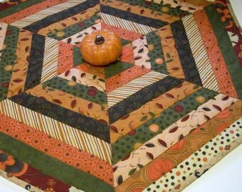 Fall Table Topper Autumn Hexagonal Quilted Quiltsy Handmade FREE U.S. Shipping