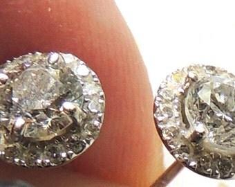 Halo Diamond Earrings, Genuine Diamonds, 14K White Gold, Gift Box, Vintage Wedding Earrings, Vintage Bridal Earrings