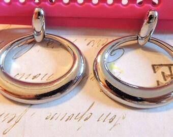Vintage Trifari Dangle Earrings Silver Oval Hoops Clip On Designer Jewelry