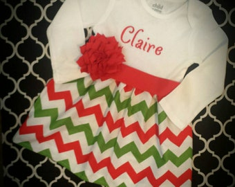 Chevron dress, Christmas dress, girls dress, monogrammed dress, red and green dress