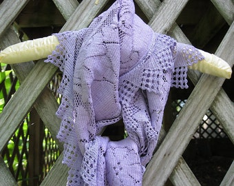 Violet vintage lace scarf, long violet lace scarf, upcycled vintage lace scarf, violet cotton lace scarf, shabby cottage chic scarf