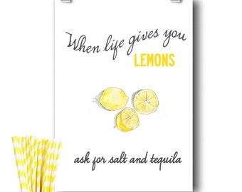 Lemon Illustration With Quote  - Poster Print. Size A3