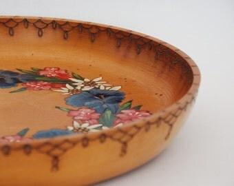 Pyrography wood burning art, Folk art painting, Christmas decor, Large wooden plate, Winter Mountain decor