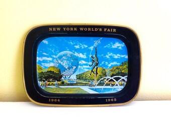 Vintage Tin Tip Tray, World's Fair 1964-65, New York City, NYC Collectible, Mini Tray, Souvenir