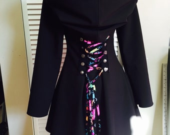 Rainbow Corset lace bamboo hoodie jacket steampunk fairy pixie  pirate Faye tality couture