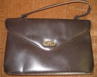 Vintage 1950's Dark Brown Leather Handbag