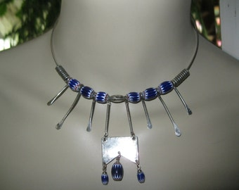 Handcrafted Vintage 60's Sterling Silver Choker with Navy Blue Beads