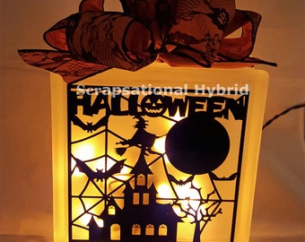Haunted House Glass Lighted Block, Happy Halloween