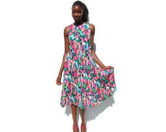 Bright floral print midi dress 1990s 90s VINTAGE