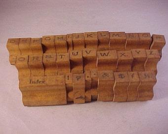 Vintage Wood Handle Rubber Letter Stamps Printing Set