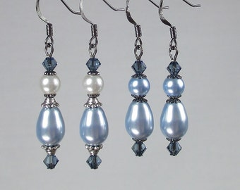 Blue Pearl Teardrop Earrings Swarovski Denim Crystals Antique Silver Gunmetal Powder Blue Pearls English Abbey Inspired Edwardian Victorian