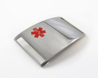 Steel, Medical ID Slider Plate, Custom ENGRAVED FREE - iSS