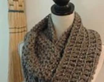 taupe and silver infinity scarf hand crocheted