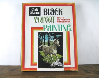 Black Velvet Horse Painting, 1970s PBN Oil Paint by Numbers Set no 14201 GREY STEED - deadstock, craft master, new old stock,  10 x 14