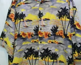 Vintage, Mens Hawaiian Shirt, Mens Sail Boat Hawaiian Button Down Shirt, XL mens Polyester Hawaiian Shirt, Nautical Fashion, Casual wear,