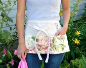 Shabby Cottage Chic Half Apron Pink Roses - Vendor Apron - Garden Apron - Teacher