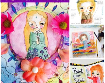 Workshop online art class - Watercolor fun - painting girls dolls, cute animals, mandalas, creative class