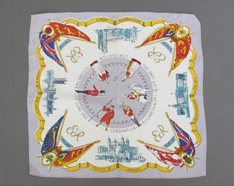 Vintage Royal Coronation Handkerchief, English 1953 - Queen Elizabeth - Royal Memorabilia