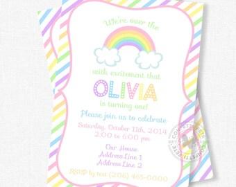 Rainbow Birthday Invitation, Pastel Rainbow Invitation, Rainbow Party Invite, Over the Rainbow Party, Stripes