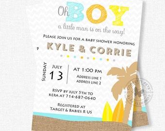 Nice Surf Baby Shower Invitation, Beach Baby Shower Invitation, Little Man Shower,  Boy Baby
