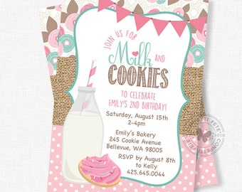 Milk and Cookies Birthday Invitation, Milk and Cookies Invitation, Sugar Cookie Invitation, Burlap Birthday Invitation, Pink Cookie Party