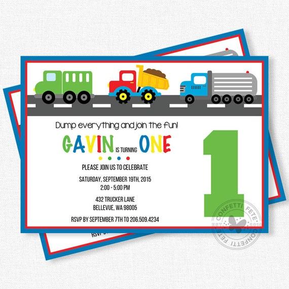 Truck Birthday Invitation, Construction Trucks Invitation, Boy Birthday Invitation, Primary Color Invitation