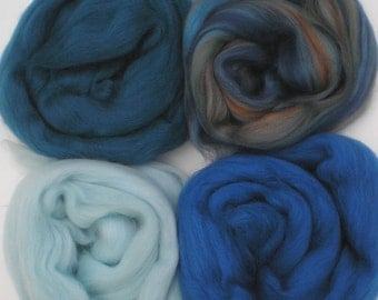 """Merino Wool for Wet Felting or Spinning   2oz. Pack of Assorted Colors """"Pacifica"""""""