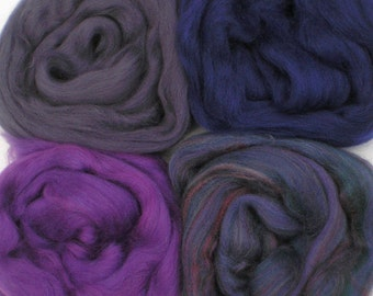 """Merino Wool for Wet Felting or Spinning   2oz. Pack of Assorted Colors """"Midnight Shadows"""""""