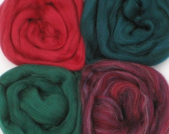 """Merino Wool for Wet Felting or Spinning   2oz. Pack of Assorted Colors """"Christmas in New England"""""""