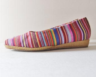 Vtg 80s Striped Tapestry Fabric Wedges - Women 8.5 - Beacon Espadrilles, rainbow, boho vibe