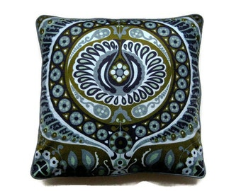 Heals Jyoti Bhomik Pageant, gray, blue, olive green vintage 60s barkcloth cushion cover, throw pillow cover, homeware decor 18 X 18 ins