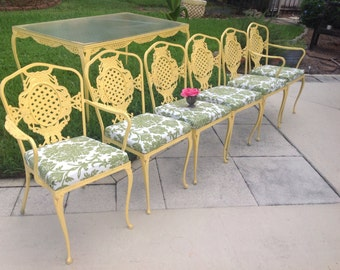 SHABBY CHIC Yellow METAL Table and 6 Chairs / Cottage Style / Trellis Pattern Metal Chairs Shabby Chic Style On Sale at Retro Daisy Girl